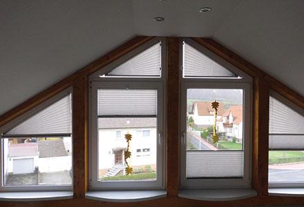 Auch dreiecksfenster dekoriert plissee am besten - Moderne fensterformen ...
